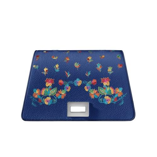 Bellamì patta in pelle con fiori multicolor ricamati blu marino
