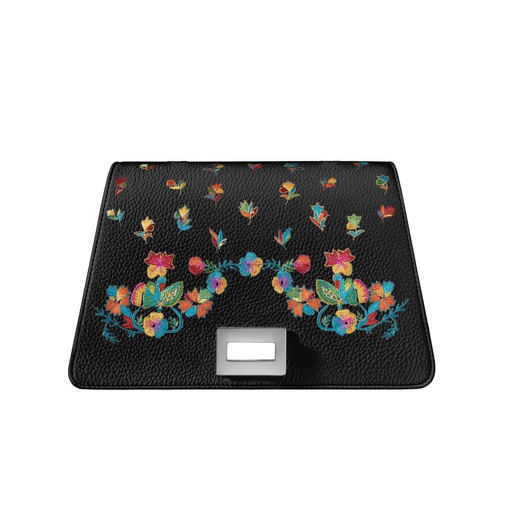 Bellamì patta in pelle con fiori multicolor ricamati nero