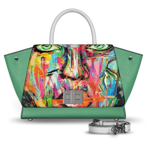 borsa da donna in pelle verde Bellami cod BEBO503