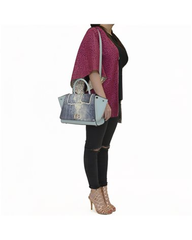 borsa donna celeste con patta jeans
