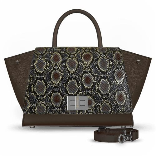 borsa marrone in pelle pitonata
