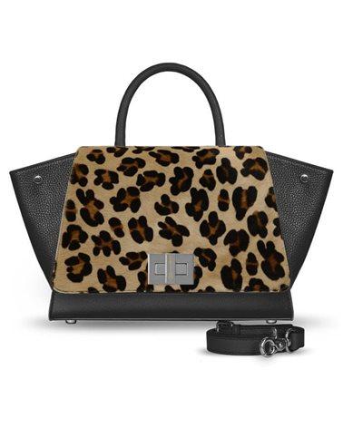 Borsa nera in pelle leopardata modello Bellami cod BEBO536