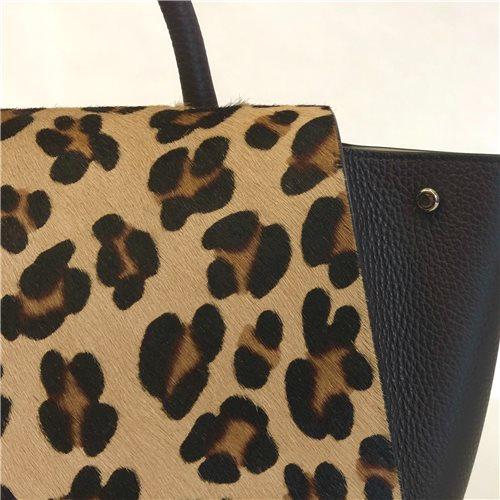 Borsa nera in pelle leopardata Bellami cod BEBO536
